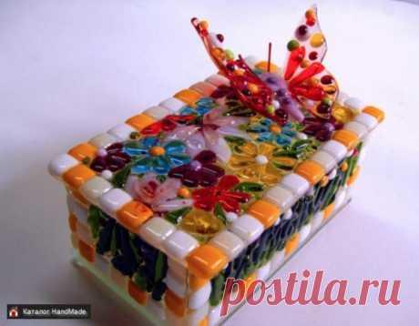 Стеклянная шкатулка с бабочкой, фьюзинг купить в Беларуси HandMade, цены в интернет магазинах