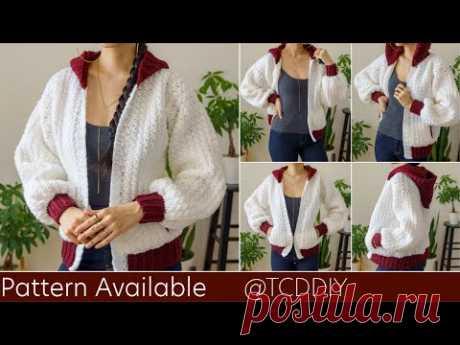 How To Crochet A Bomber Hoodie | Pattern & Tutorial DIY