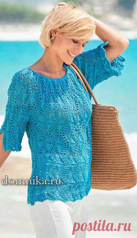 Женский пуловер спицами схемы вязания и описание джемпера на лето