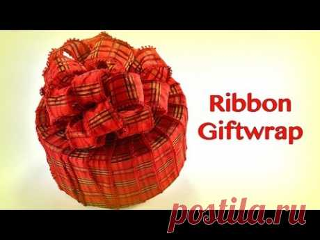 Ribbon Only - No Paper! How to Gift Wrap a Beautiful Package Using Only Ribbon!