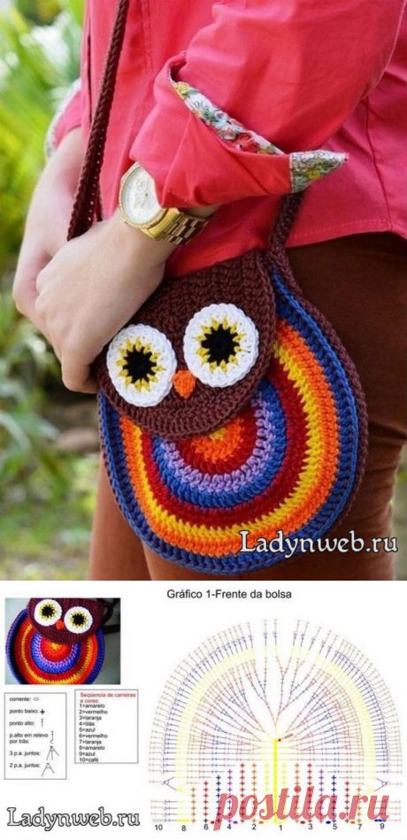Сумка сова крючком схема | Ladynweb.ru Для вязания сумочки потребуется: Крючок. Акриловая пряжа коричневого, синего, белого, оранжевого, желтого, красного и фиолетового цветов. Иголка.