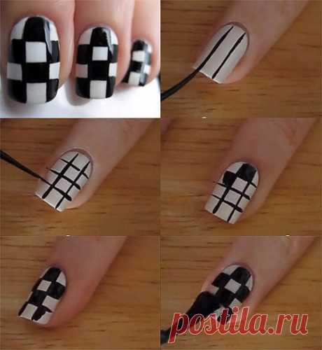 Простой «шахматный» маникюр!