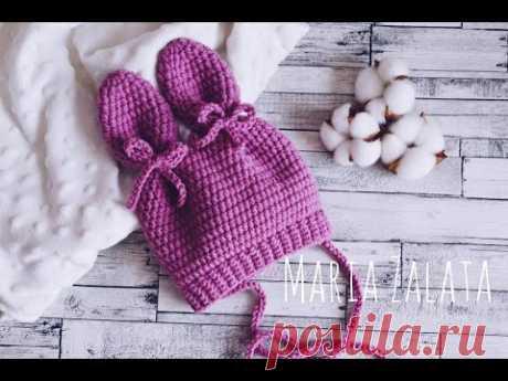 Шапочка крючком для новорождённого. Видеоурок | Детская одежда крючком. Схемы