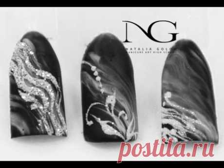 Winter manicure: simple design of nails \/ Winter nails
