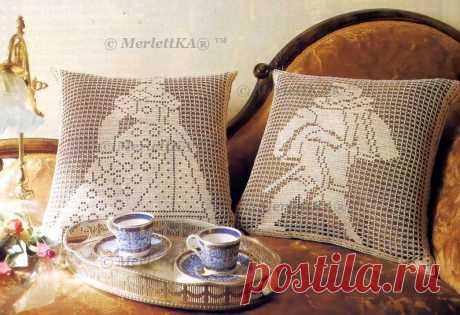 Interior pillows - knitting by a hook - a big selection \/ All from the world of needlework (I study and I share various technicians and types of needlework)