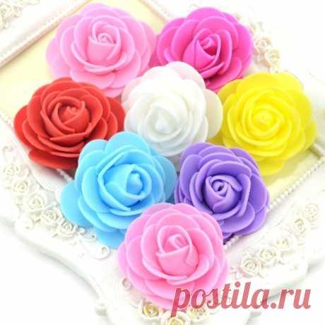 Розы из фоамирана 4 см 20 шт, 7 цветов + микс