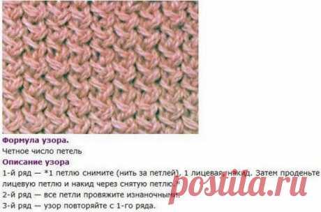 Плетёный и неправильный узоры спицами