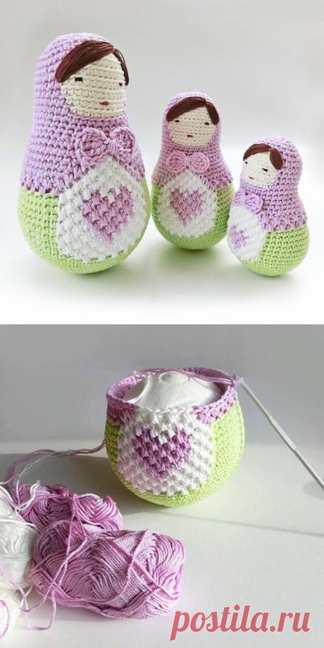 Amigurumi doll pattern crochet nesting dolls pattern. от goolgool
