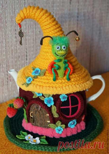 Вяжем грелку на чайник «Сказочный домик» - Забавная букашка! Часть 2