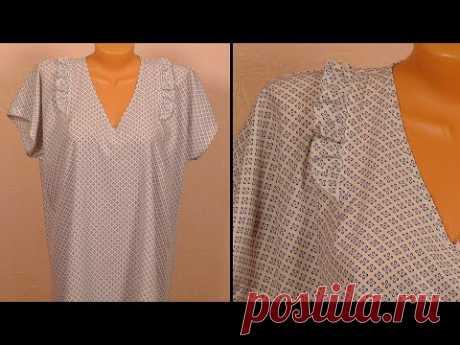 (4644) Как сшить ночную женскую сорочку - YouTube