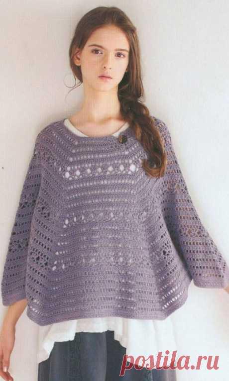 Пуловер-пончо крючком