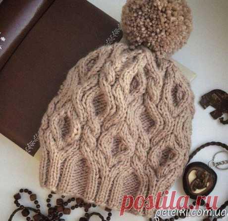 Тёплая шапка объёмным узором. Схема описание