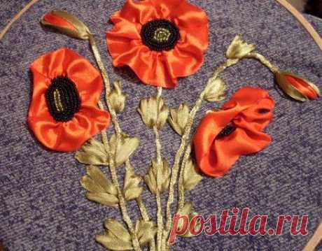 Embroidery tapes. We embroider poppies