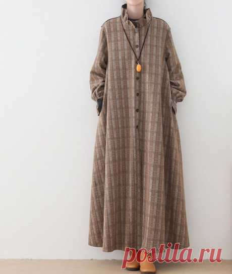Women Loose Fitting long coat Autumn Plaid coat Longsleeve   Etsy 【Fabric】 50% wool, 50% polyester no Lining 【Color】 khaki 【Size】 Shoulder width 45cm/ 17 Sleeve length 62cm/ 24 Arm circumference 41cm/ 16 Bust 114cm/ 45 Waist 142cm/ 55 Length 125cm/ 48  Washing & Care instructions: -Hand wash or gently machine washable do not tumble dry -Gentle wash cycle (40°C)