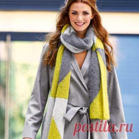 Длинный шарф спицами из пряжи трех цветов - Портал рукоделия и моды Длинный шарф спицами из пряжи трех цветов - Портал рукоделия и моды