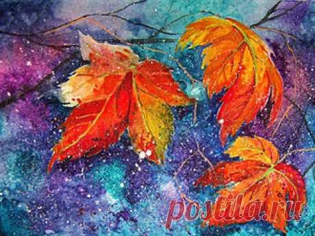 Осенний мастер-класс: акварель по-мокрому - Ярмарка Мастеров - ручная работа, handmade