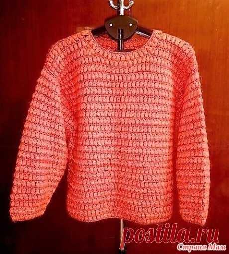 Мохеровый пуловер с блестящими полосками. - Все в ажуре... (вязание крючком) - Страна Мам