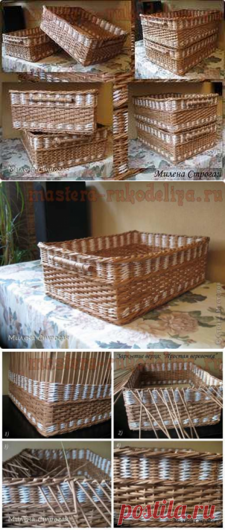 Мастер-класс по плетению из газет: Ручки и верх коробки - Загибки