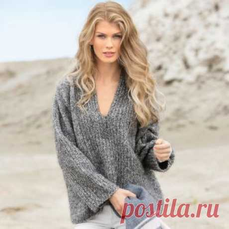 Volume pullover from a melange yarn - the scheme of knitting by spokes. We knit Pullovers on Verena.ru
