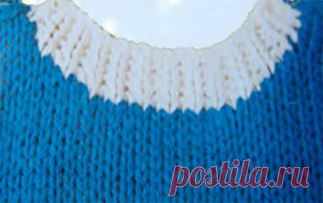 1000 идей для вязания спицами: Простой способ обвязки горловины