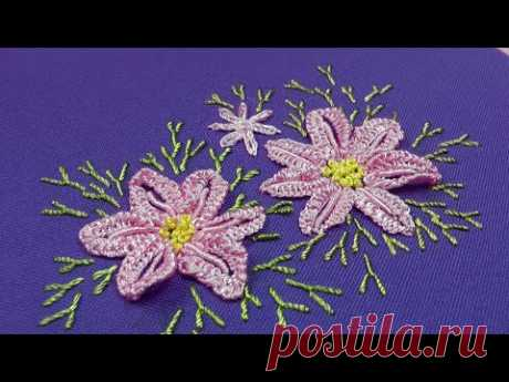 Dimensional Embroidery | Pink daisies | embroidery for beginners