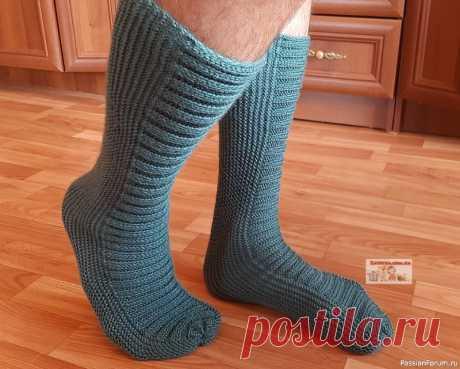 Мужские носки на двух спицах | Вязание для мужчин спицами. Схемы вязания