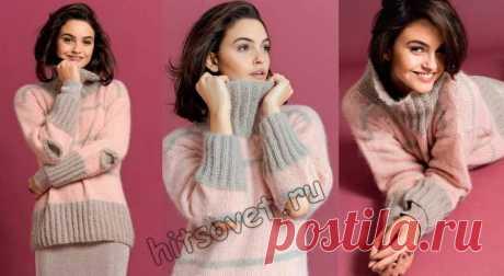 Двухцветный пуловер с вырезами на локтях - Хитсовет