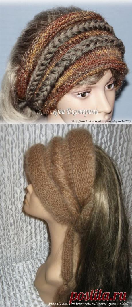 Красивые и теплые повязки на голову, связанные спицами — Рукоделие