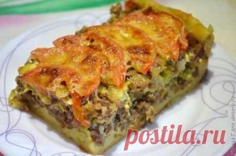 Как приготовить открытый мясной пирог из картофельного теста - рецепт, ингредиенты и фотографии