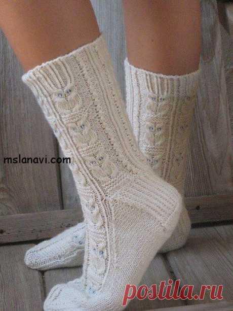 """Белые вязаные носки с узором """"совы""""   Вяжем с Лана Ви"""