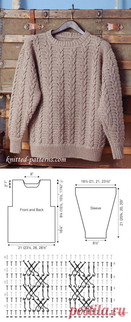 Мужской пуловер крючком.