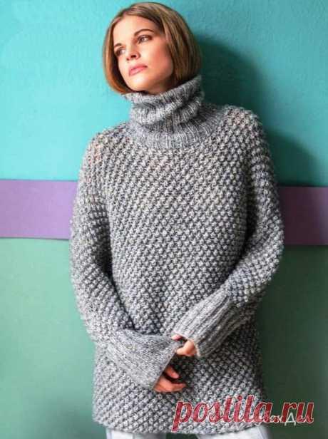 Вязание спицами для женщин - свитер-кимоно со «Звёздочками», описание вязания и выкройка