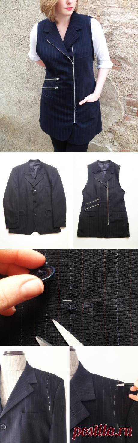 Переделка пиджака в стильный жилет