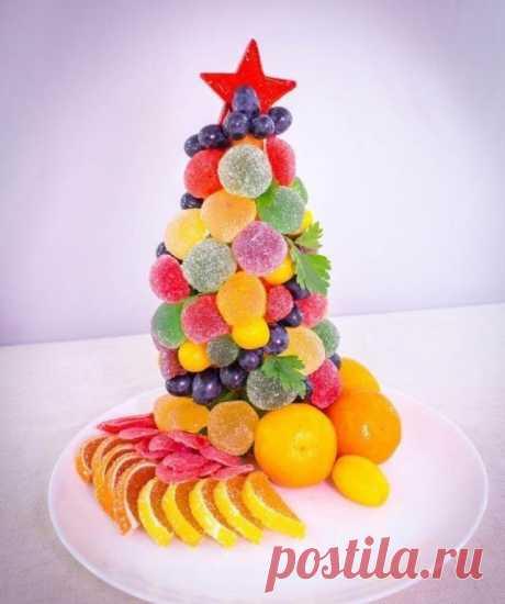 Съедобная ёлочка - Эфария На сладкий стол можно приготовить красивую,сладкую елочку из фруктов и конфет ВК
