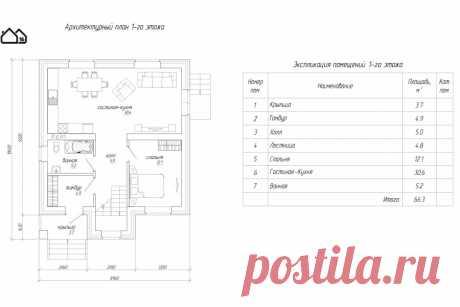 Проект двухэтажного дома ПМ1-133