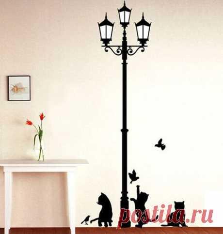 Стикер стены бесплатная доставка популярные древние лампы кошки и птицы стены дома настенной росписи декора дети на обои купить на AliExpress