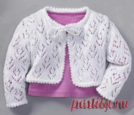 Ажурная кофточка спицами для девочки » Ниткой - вязаные вещи для вашего дома, вязание крючком, вязание спицами, схемы вязания