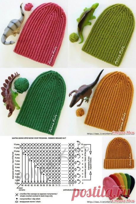 "Cap bin hook pattern ""Резинка"". Ribbed beanie hat Author: Polina Kuts."
