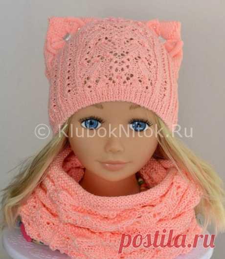 Ажурная шапочка с ушками и снуд | Вязание для девочек | Вязание спицами и крючком. Схемы вязания.