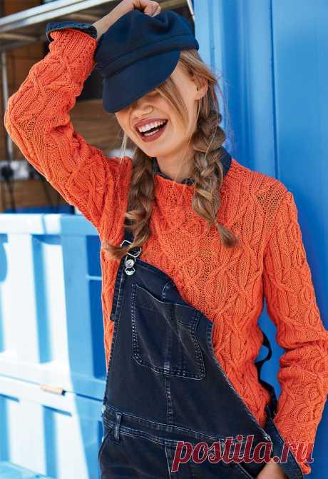 Оранжевый джемпер с узором из кос - схема вязания спицами. Вяжем Джемперы на Verena.ru