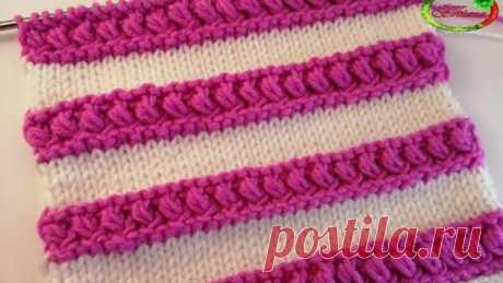 #79 Сказочный эффект 3D двухцветный узор Плотный и объемный Knitting pattern
