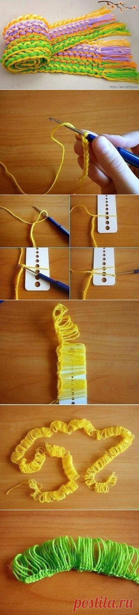 Веселый шарфик, вязание крючком на линейке