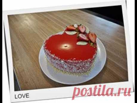 💏Бисквитный торт в форме сердца с клубничным 🍓конфи и сливочным кремом.Зеркальная глазурь.💖