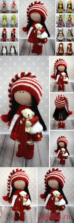 Winter Tilda Doll Red Fabric Doll Handmade Textile Doll Rag