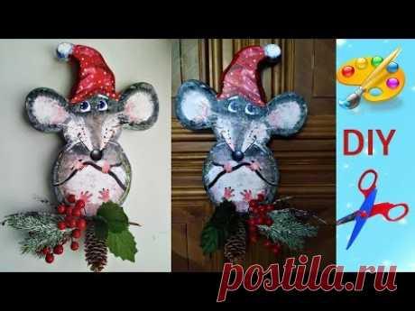 Новогоднее панно Крыса символ 2020 своими руками с объяснением - YouTube