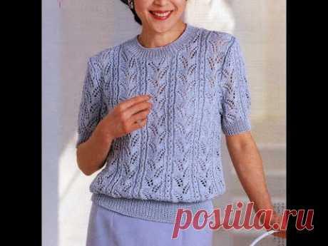 Красивая японская блуза вертикальными ажурными дорожками