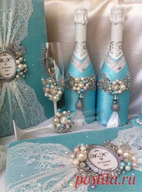 """Купить Украшение бутылок шампанского """"Голубые мечты"""" - свадебное шампанское, шампанское на свадьбу, свадебный декор"""