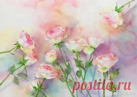 Прекрасные розы: рисуем акварелью — Сделай сам, идеи для творчества - DIY Ideas