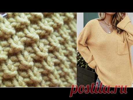 Бомбический узор для вашего джемпера оверсайз ✔ knitting pattern.