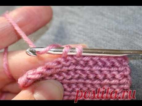 Соединительные столбики за переднюю полупетлю/ платочная вязка крючком